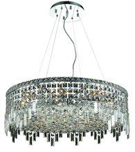 Elegant V2031D28C/RC - 2031 Maxime Collection Chandelier D:28in H:10.5in Lt:12 Chrome Finish (Royal Cut Crystals)