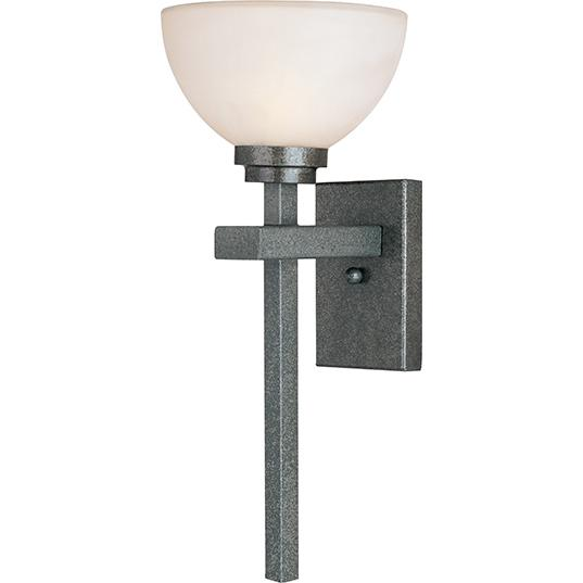 One Light Natural Iron Frosted Glass Outdoor Wall Light 9LJY Inland Lighting