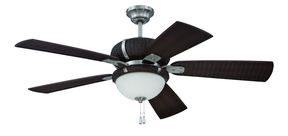 "Inland Lighting in Yakima, Washington, United States, Craftmade T7MU, La Playa 54"" Ceiling Fan with Blades and Light in Stainless Steel/Dark Wicker, La Playa"