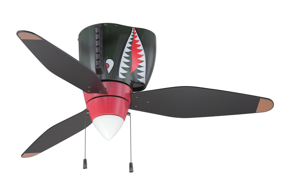 "WarPlanes 48"" Ceiling Fan with Blades and Light in WarPlanes Tiger Shark"