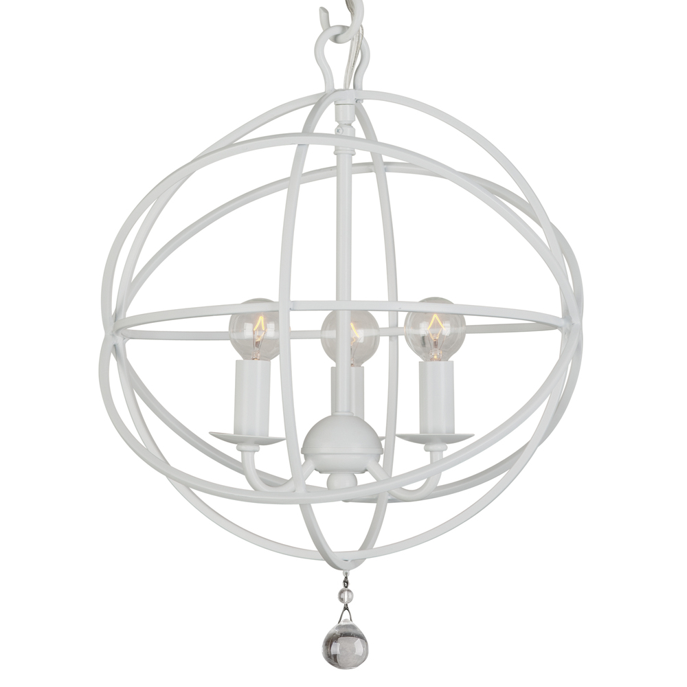 Crystorama Solaris 3 Light Wet White Mini Chandelier 2DFWH Inland Lighting