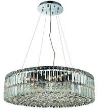 Elegant V2030D28C/RC - 2030 Maxime Collection Chandelier D:28in H:7.5in Lt:12 Chrome Finish (Royal Cut Crystals)