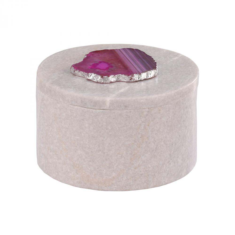 Antilles Round Box In White Marble And Pink Agat