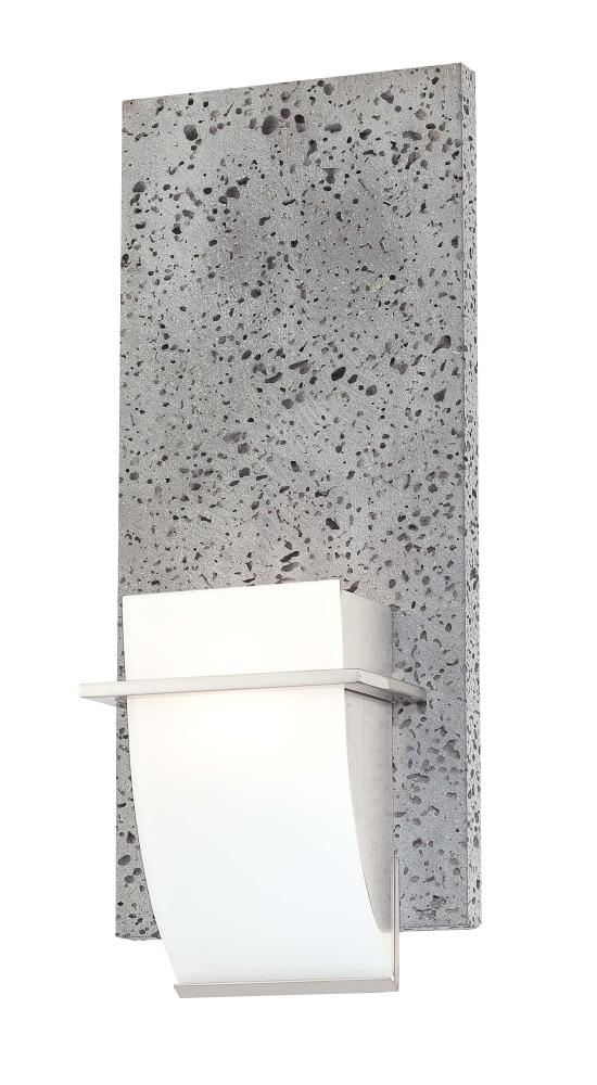 Etched Opal Glass Lava Stone Brushed Nickel Wall Light 8J6G Inland Lighting